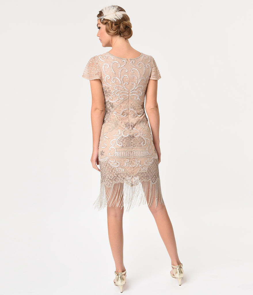 Frock and Frill 1920s Pink Champagne Beaded Lace Blair Flapper Dress
