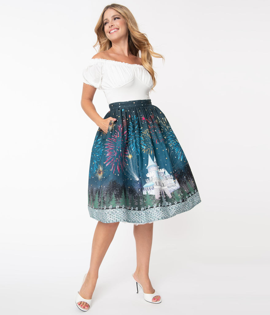 Unique Vintage 1950s Magic Fireworks Show High Waist Swing Skirt