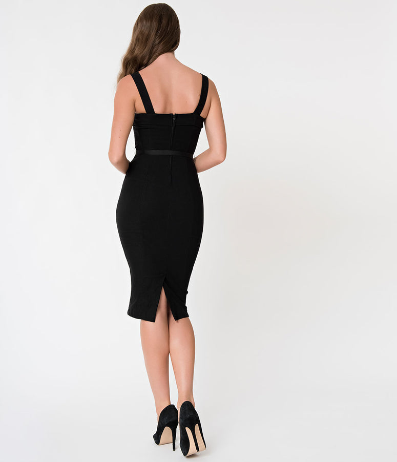 Janie Bryant For Unique Vintage 1960s Style Black Betty Wiggle Dress