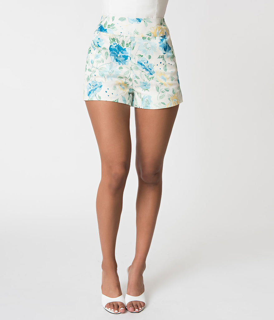 Janie Bryant For Unique Vintage Ivory & Floral Print High Waist Sardi Shorts