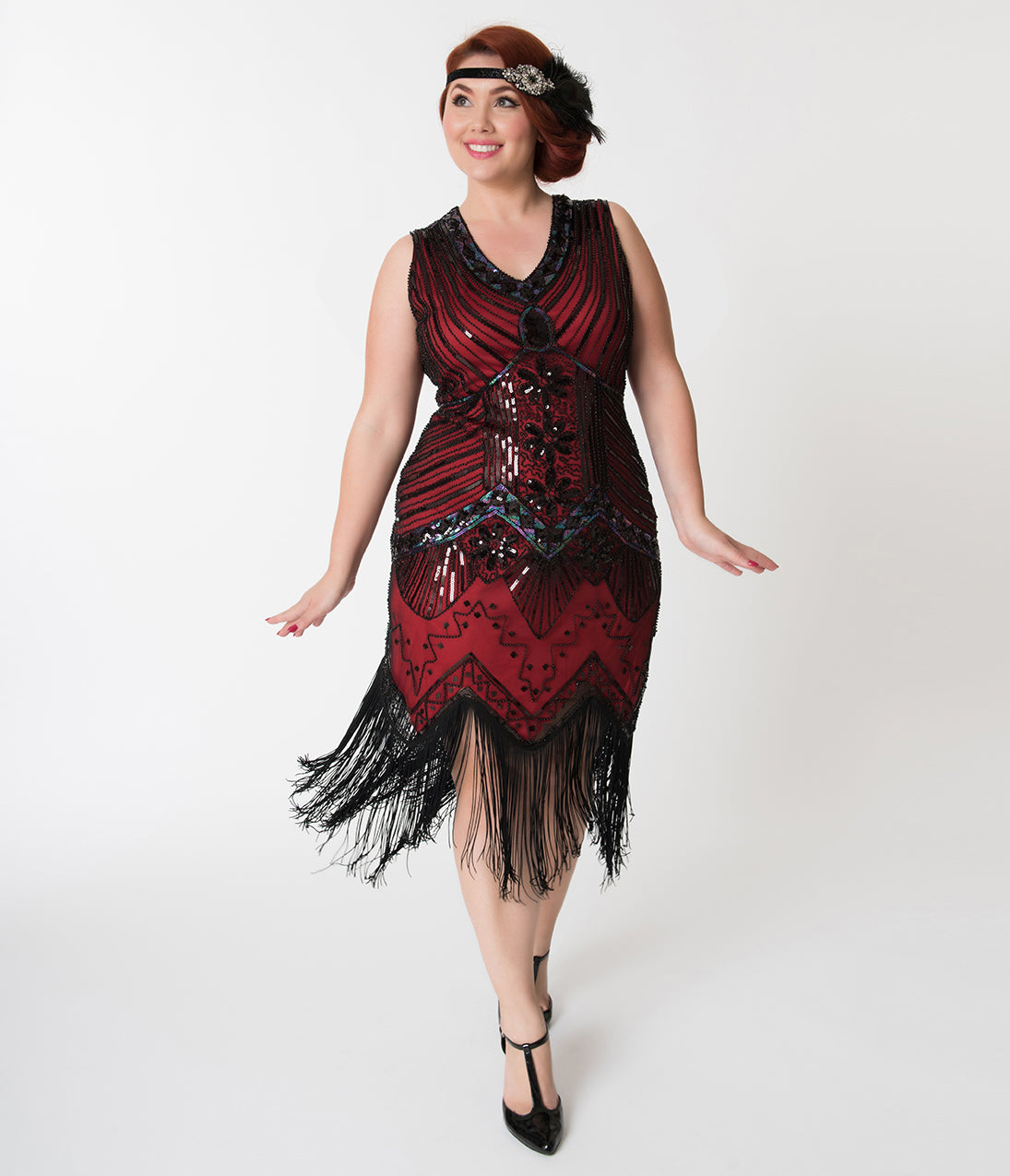 1920s Plus Size Flapper Dresses, Gatsby Dresses, Flapper Costumes Unique Vintage Plus Size 1920S Deco Red  Black Veronique Fringe Flapper Dress $98.00 AT vintagedancer.com