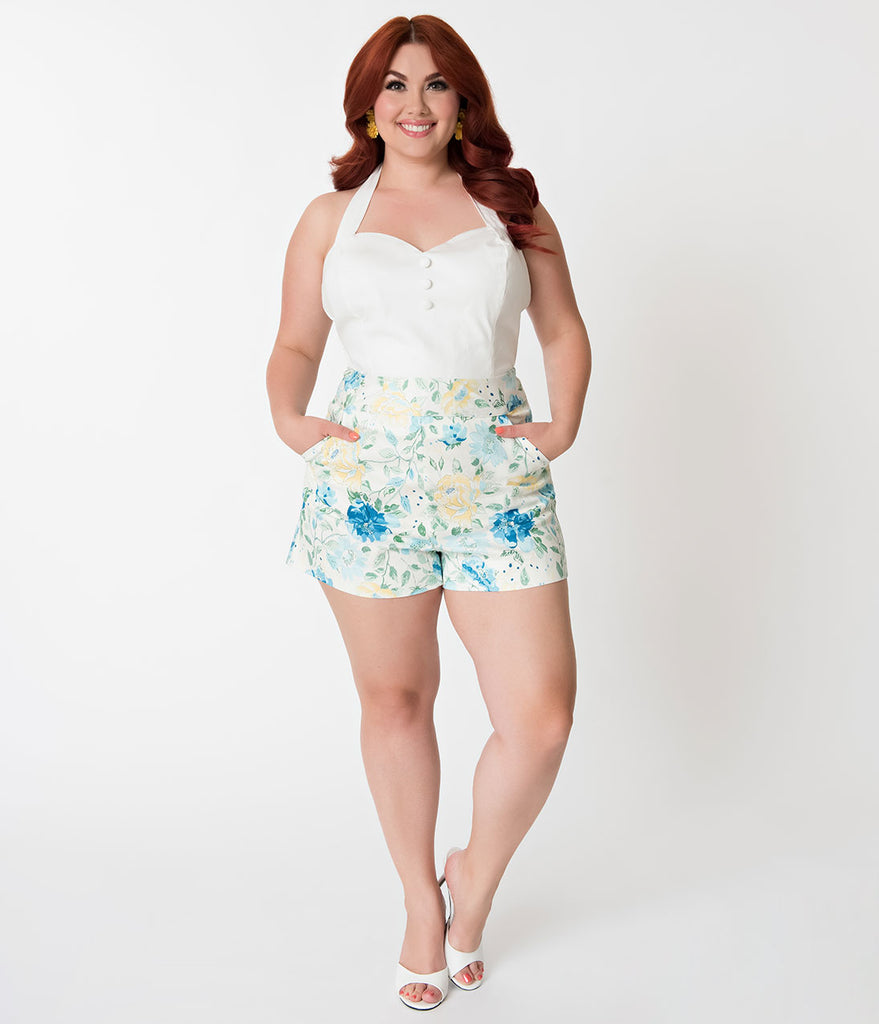 Janie Bryant For Unique Vintage Plus Size Ivory & Floral Print High Waist Sardi Shorts