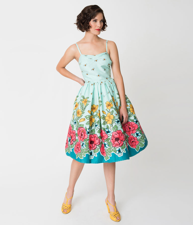Unique Vintage 1950s Mint & Bee Floral Print Darcy Swing Dress