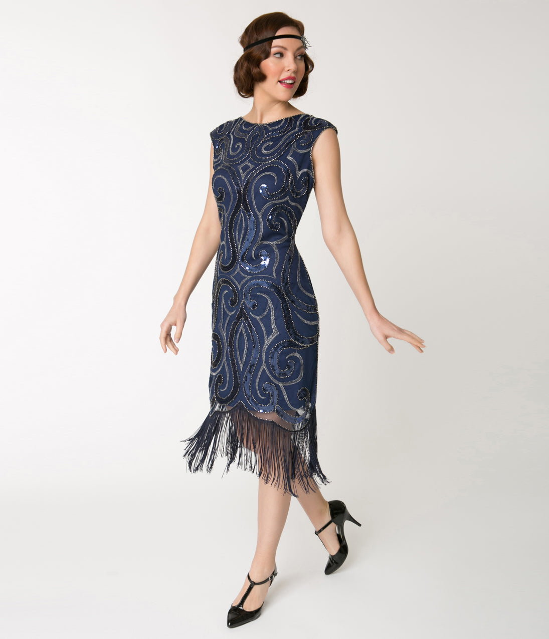 1920s Style Dresses, Flapper Dresses Unique Vintage Navy Blue  Silver Swirl Iris Fringe Flapper Dress $74.00 AT vintagedancer.com