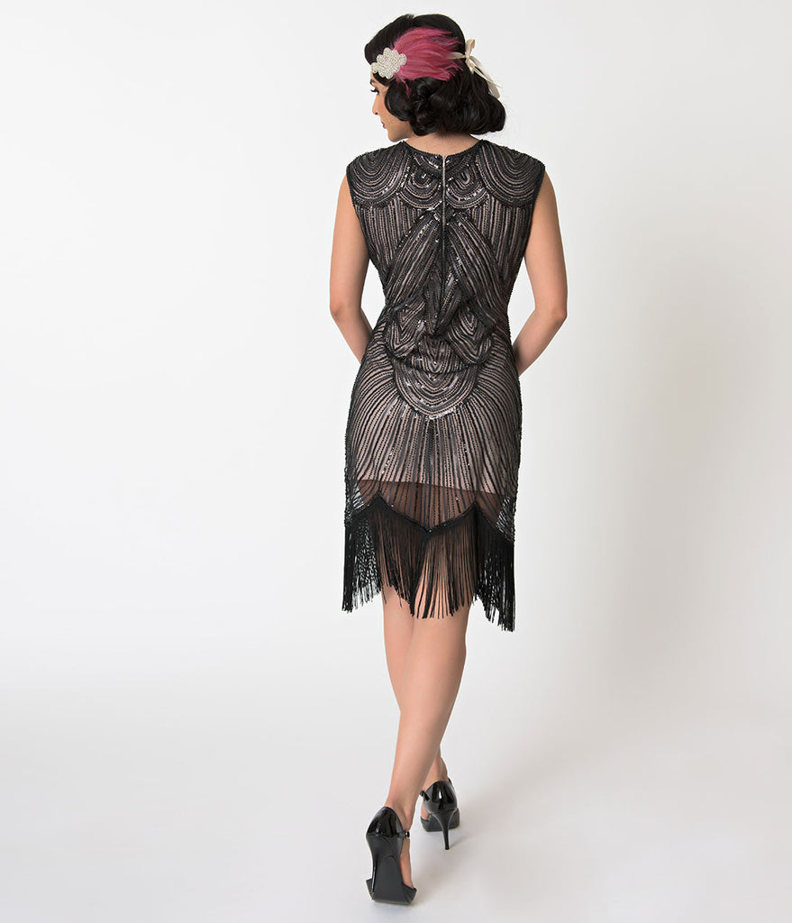 Unique Vintage Pink & Black Sequin Cap Sleeve Lucie Fringe Flapper Dress
