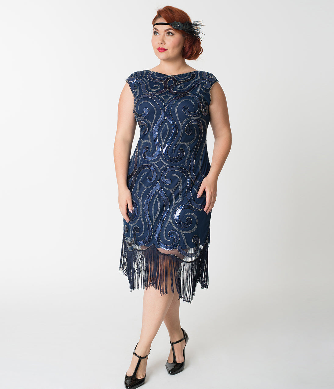 Roaring 20s Costumes- Flapper Costumes, Gangster Costumes Navy Blue  Silver Swirl Iris Fringe Flapper Dress $74.00 AT vintagedancer.com