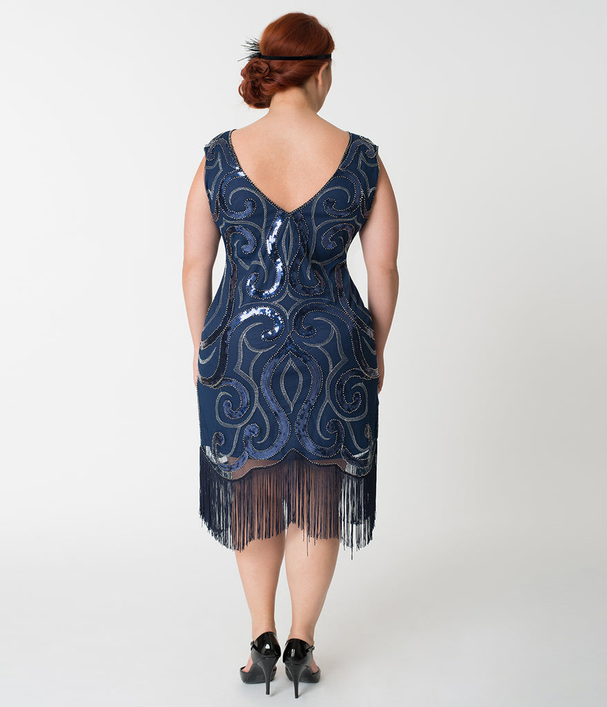 Unique Vintage Plus Size Navy Blue & Silver Swirl Iris Fringe Flapper Dress