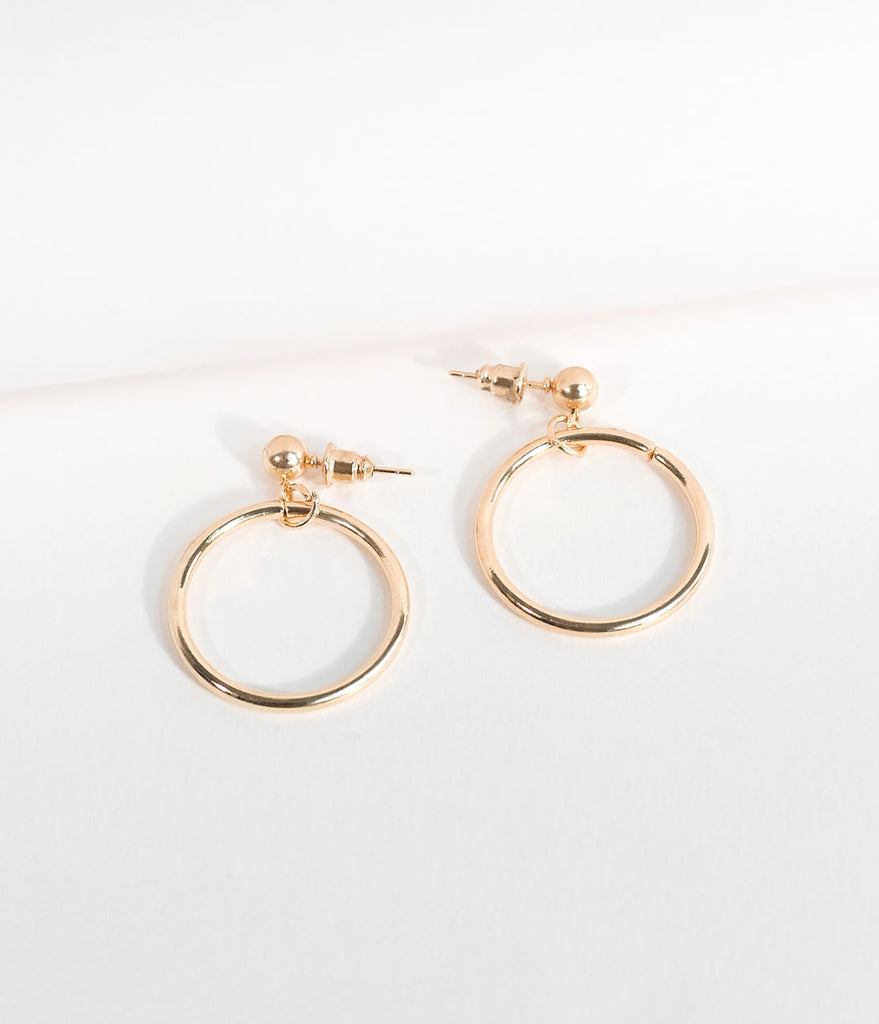 Vintage Style Gold Stud & Hoop Drop Earrings