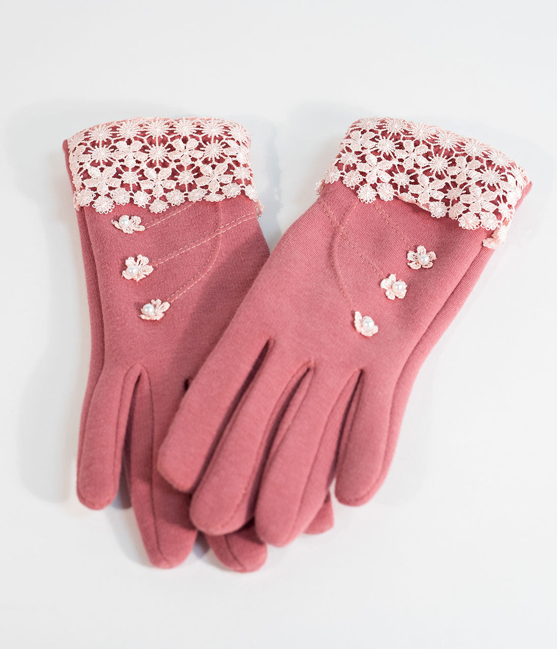 Vintage Style Gloves- Long, Wrist, Evening, Day, Leather, Lace Vintage Style Pink Lace  Ivory Pearl Summer Gloves $22.00 AT vintagedancer.com