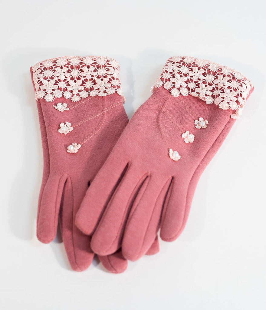 Vintage Style Pink Lace & Ivory Pearl Summer Gloves