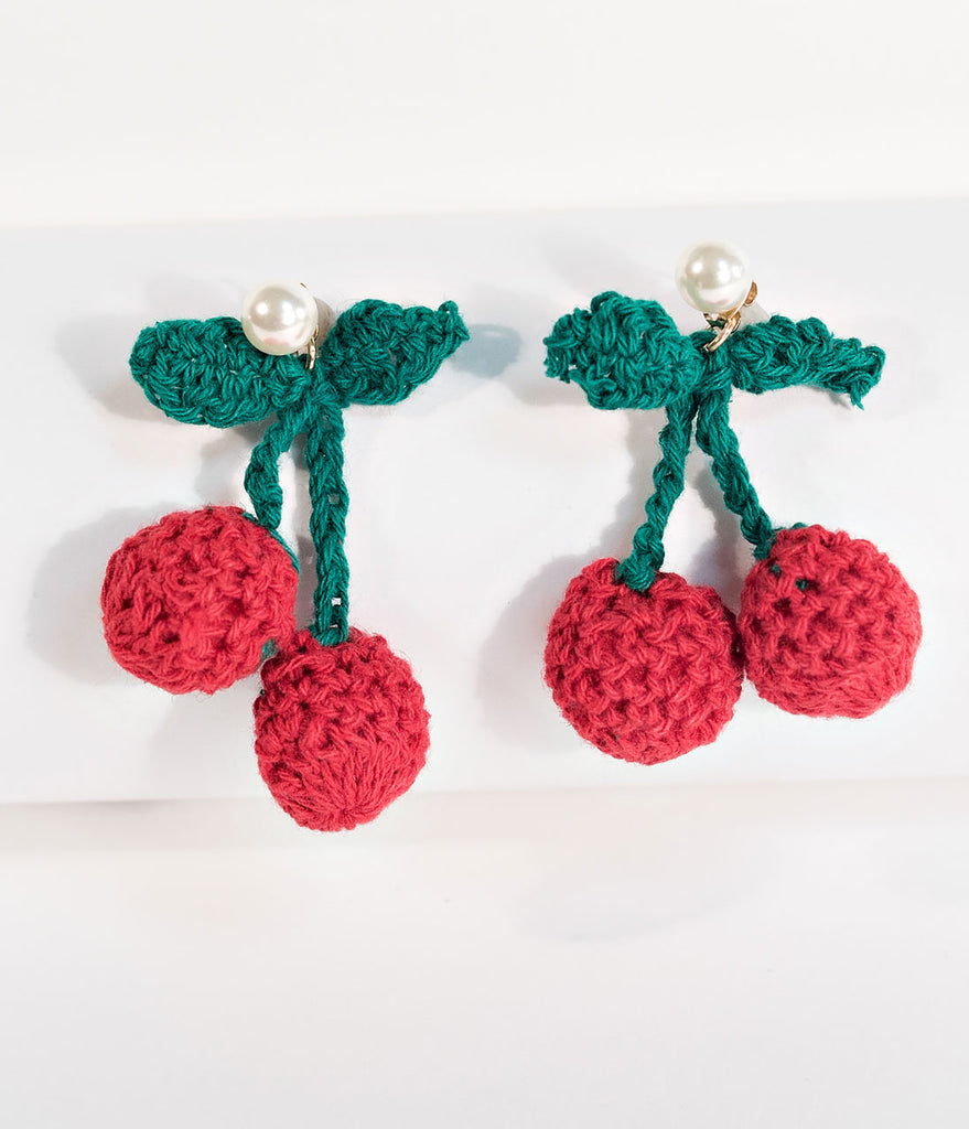 Retro Style Pearl & Knitted Cherry Post Earrings