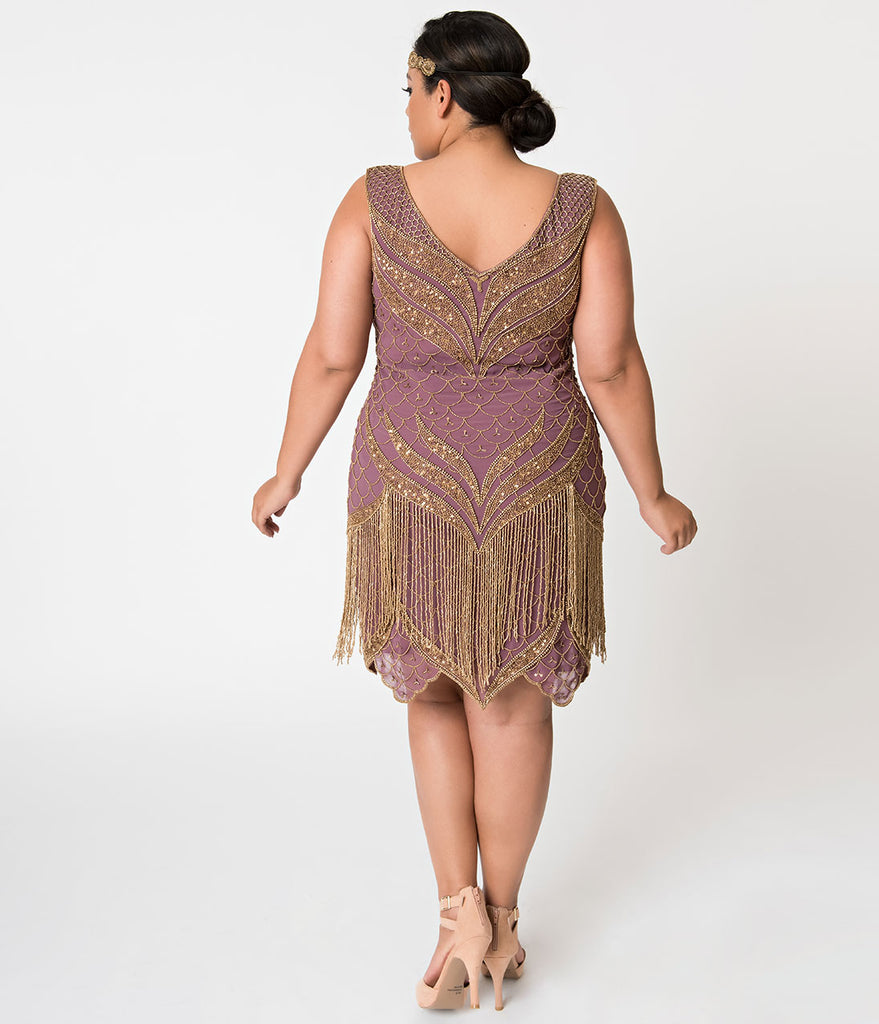 Unique Vintage Plus Size 1920s Dusty Purple & Antique Gold Beaded Bayou Flapper Dress