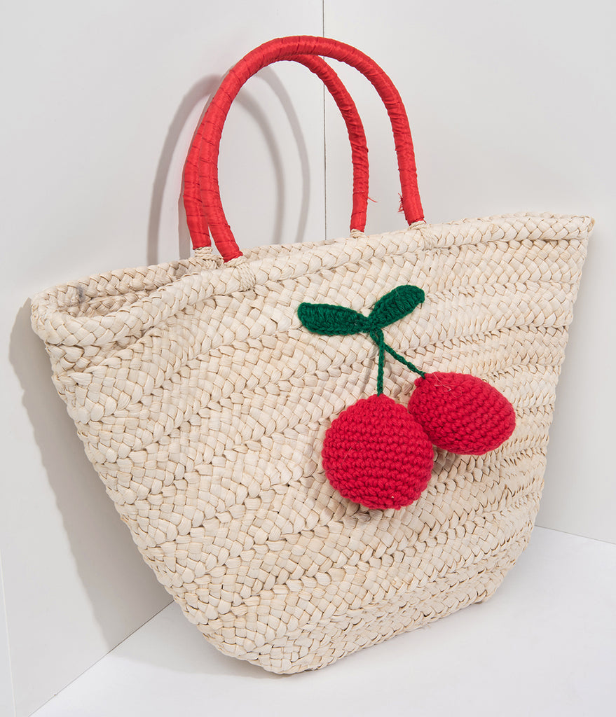 Tan Braided Straw & Red Cherry Tote