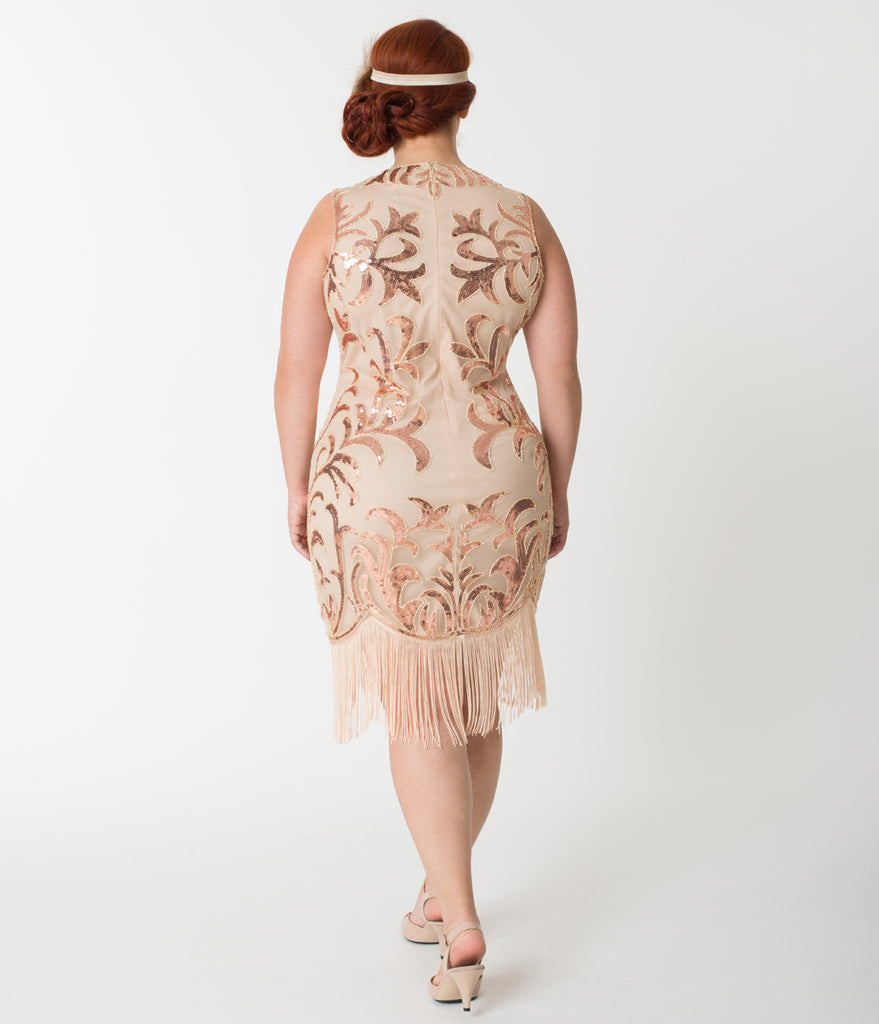 Unique Vintage Plus Size 1920s Rose Gold Sequin Nikita Flapper Dress