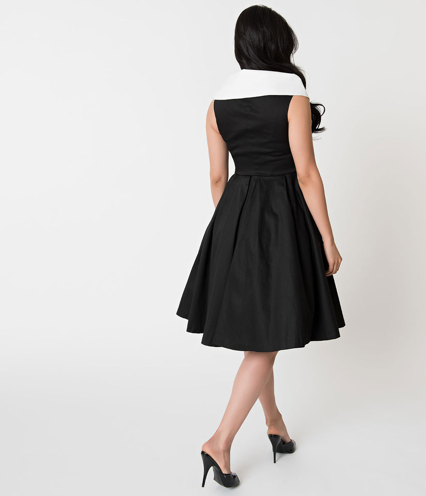 Barbie x Unique Vintage Black Cotton After Five Swing Dress