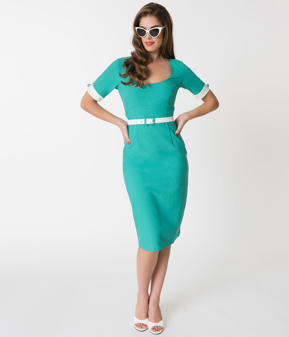 500 Vintage Style Dresses for Sale Glamour Bunny Turquoise Green  White Annie Pencil Dress $132.00 AT vintagedancer.com