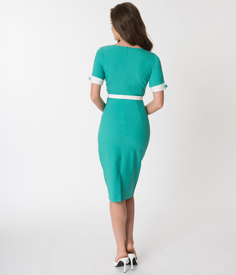 Glamour Bunny Turquoise Green & White Annie Pencil Dress