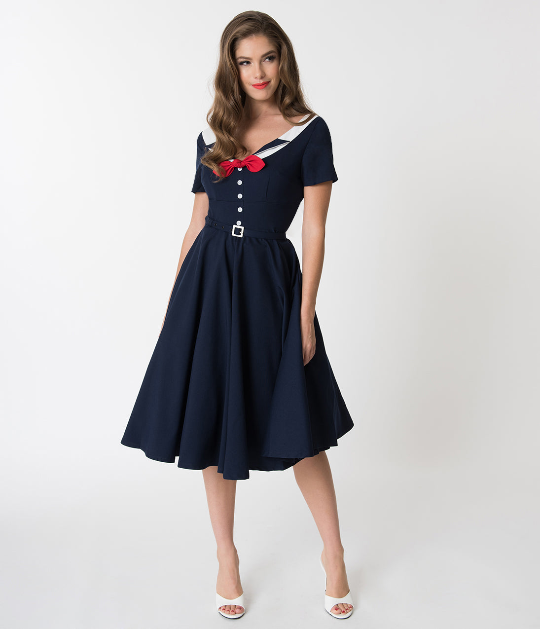 Sailor Dresses, Nautical Dress, Pin Up & WW2 Dresses Glamour Bunny Navy Blue Audrey Short Sleeve Swing Dress $142.00 AT vintagedancer.com