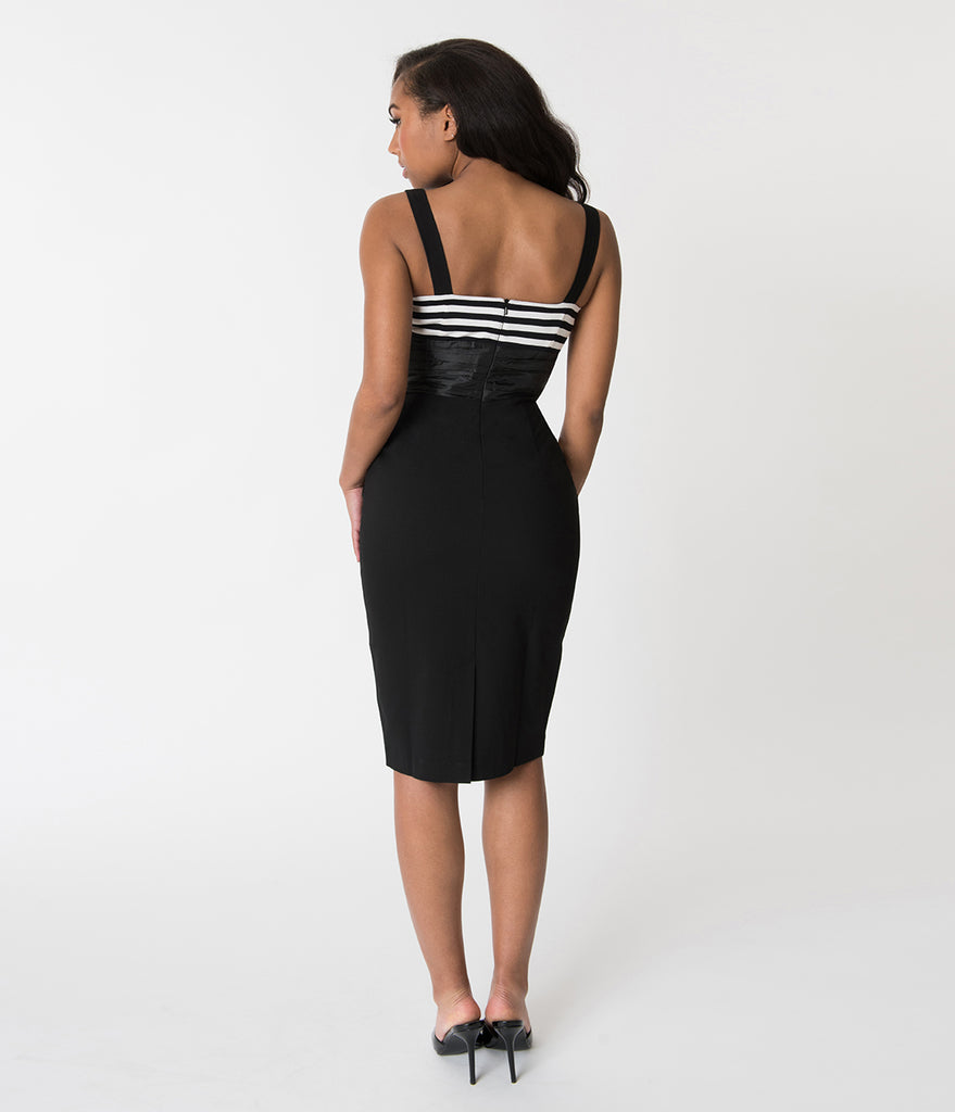 Glamour Bunny Black & White Striped Didi Pencil Dress