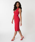 Glamour Bunny Red Halter Top Edith Pencil Dress