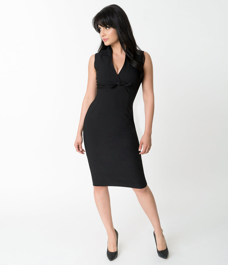 Glamour Bunny Black Sleeveless Rizzo Pencil Dress