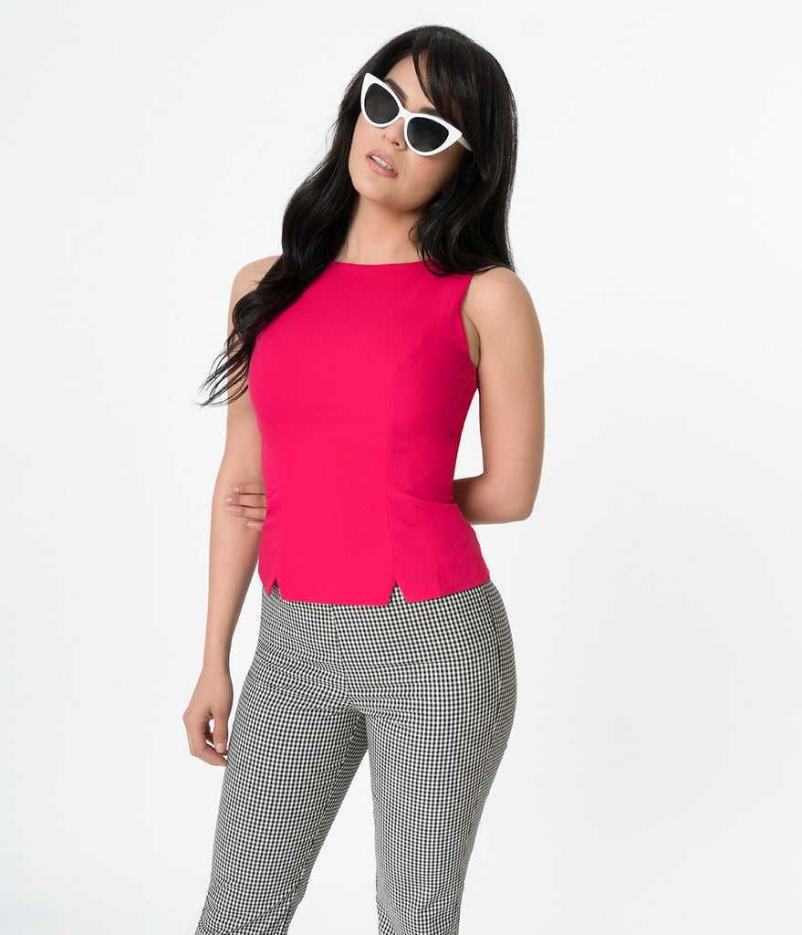 Glamour Bunny Retro Style Hot Pink Sleeveless Donna Suit Top