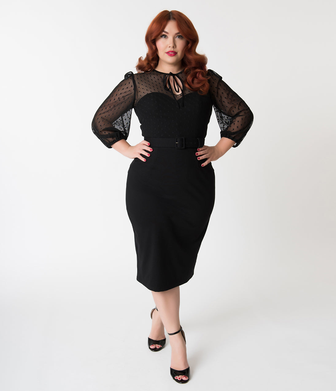 1940s Evening, Prom, Party, Cocktail Dresses & Ball Gowns Vixen By Micheline Pitt Plus Size Black Polka Dot Frenchie Wiggle Dress $142.00 AT vintagedancer.com