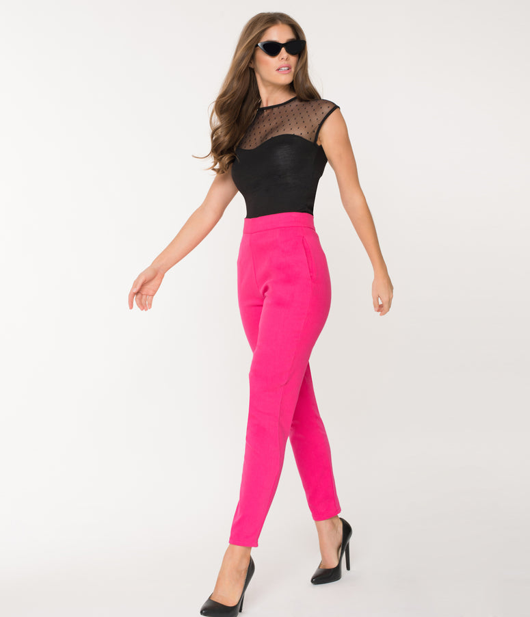 Vixen by Micheline Pitt Hot Pink Cotton Twill Cigarette Pants