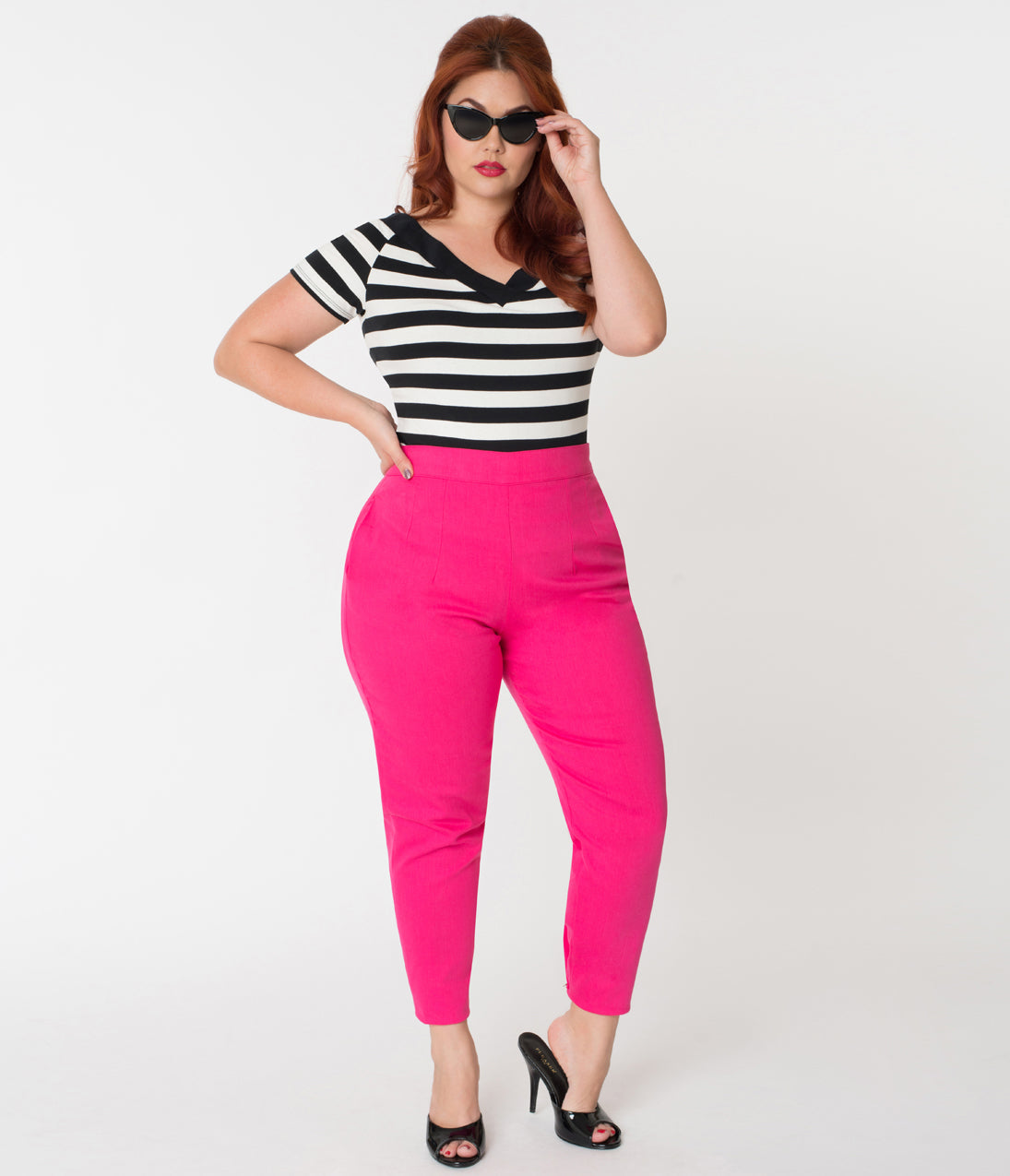 1950s Pants & Jeans- High Waist, Wide Leg, Capri, Pedal Pushers Vixen By Micheline Pitt Plus Size Hot Pink Cotton Twill Cigarette Pants $94.00 AT vintagedancer.com