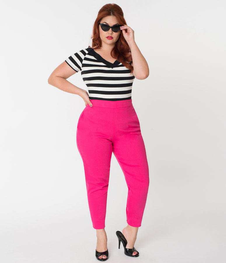 Vixen by Micheline Pitt Plus Size Hot Pink Cotton Twill Cigarette Pants