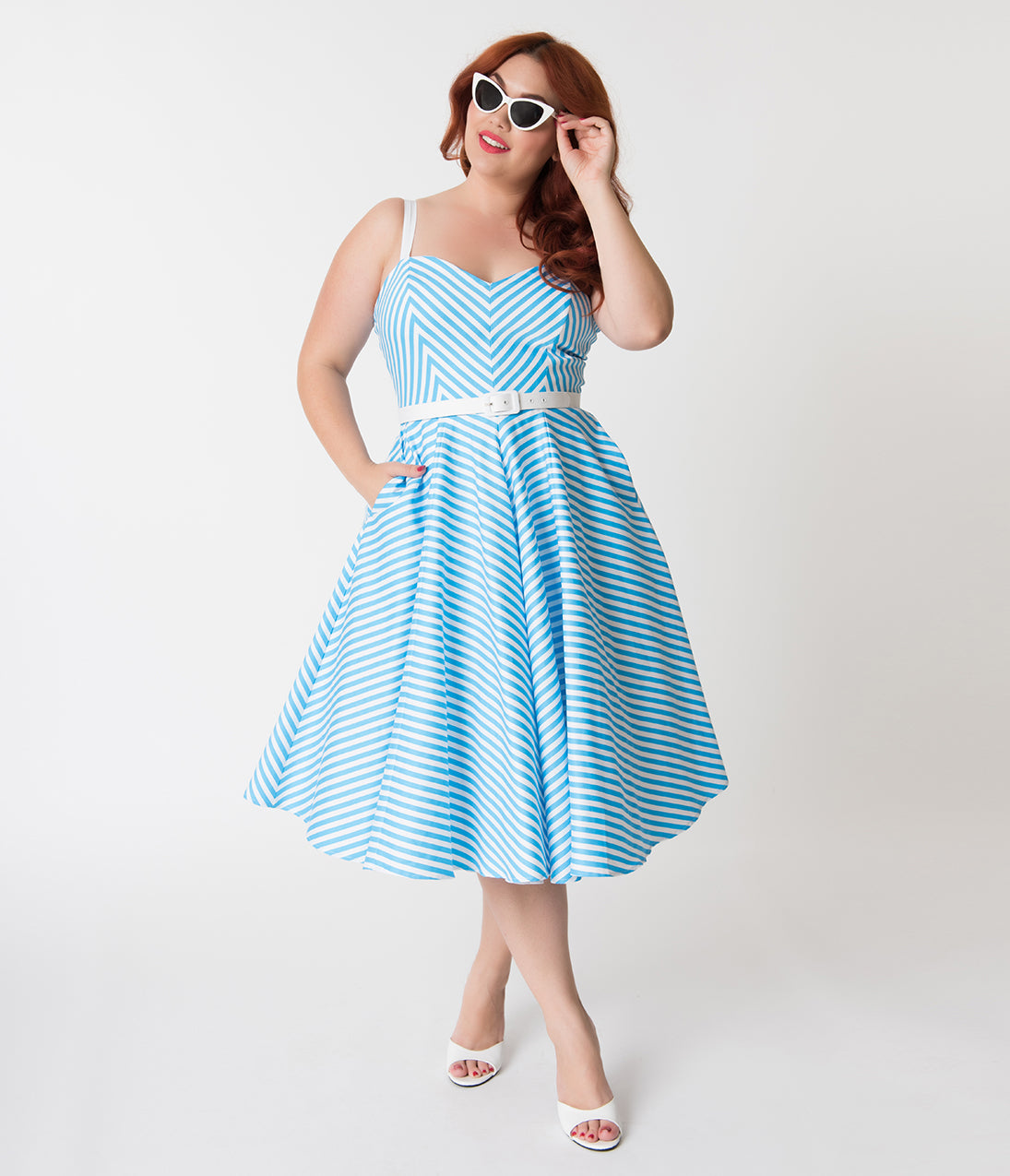 Pin Up Dresses | Pin Up Clothing Vixen By Micheline Pitt Plus Size Blue Chevron Stripe Dollface Swing Dress $152.00 AT vintagedancer.com