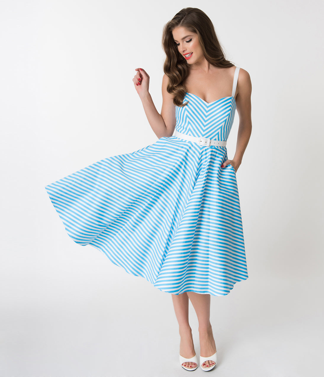 Pin Up Dresses | Pin Up Clothing Vixen By Micheline Pitt Blue Chevron Stripe Dollface Swing Dress $152.00 AT vintagedancer.com