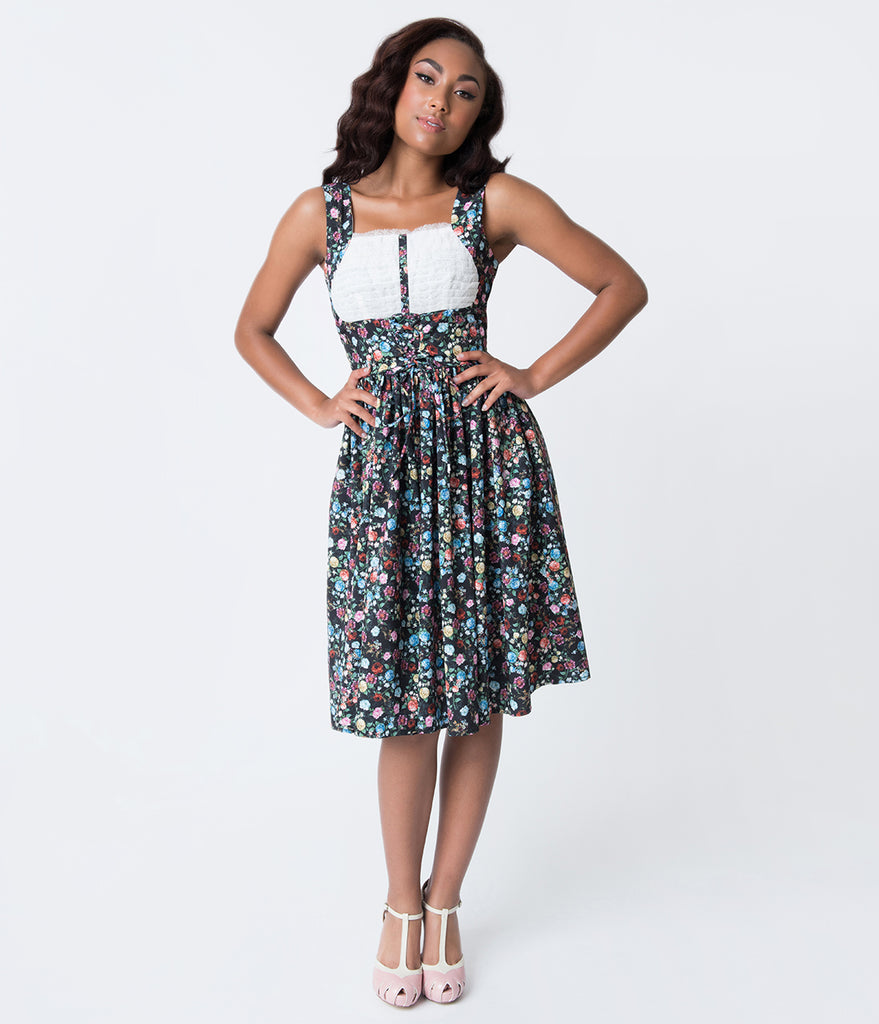 Unique Vintage Black & Ditzy Floral Print Fields Swing Dress