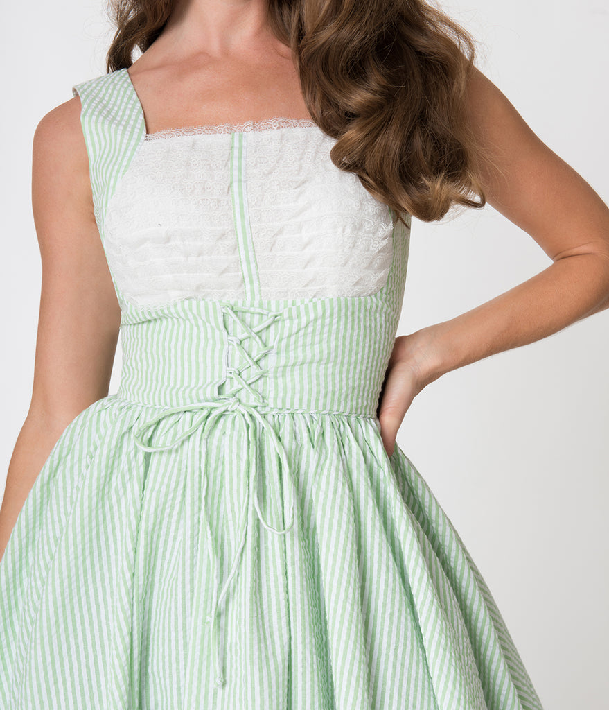 Unique Vintage Mint & White Striped Seersucker Fields Swing Dress