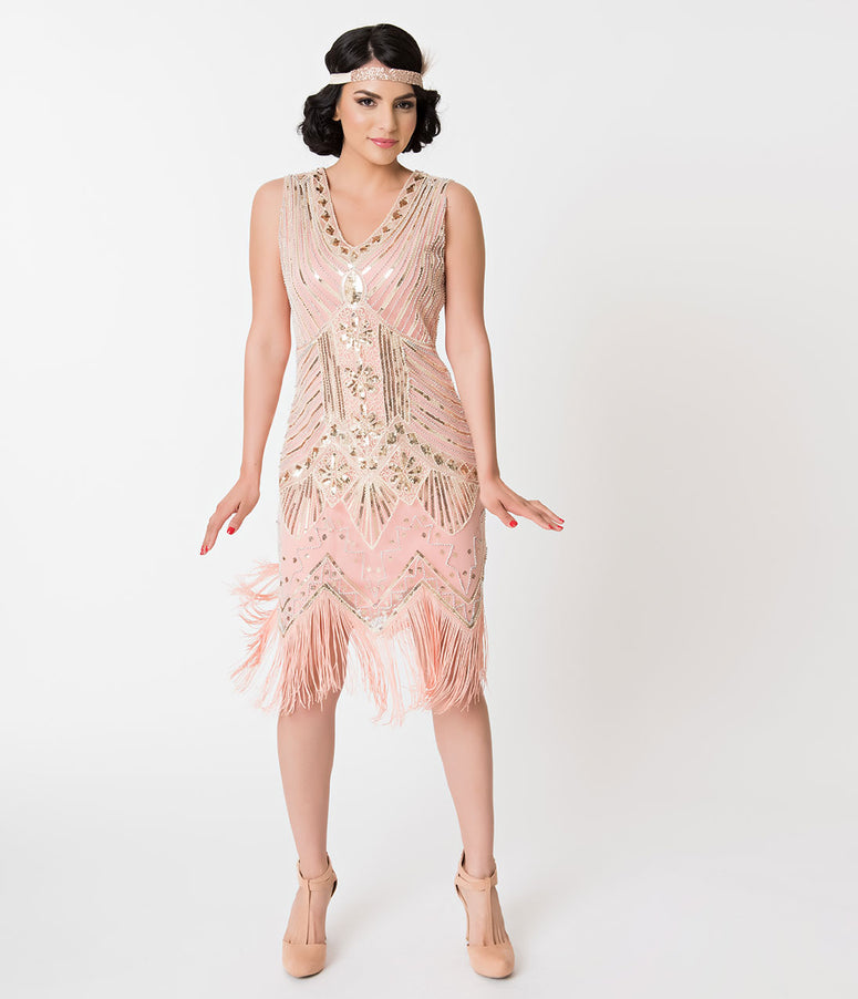 Unique Vintage 1920s Deco Peach & Gold Veronique Fringe Flapper Dress