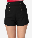 Unique Vintage 1940s Style Black High Waist Sailor Debbie Shorts