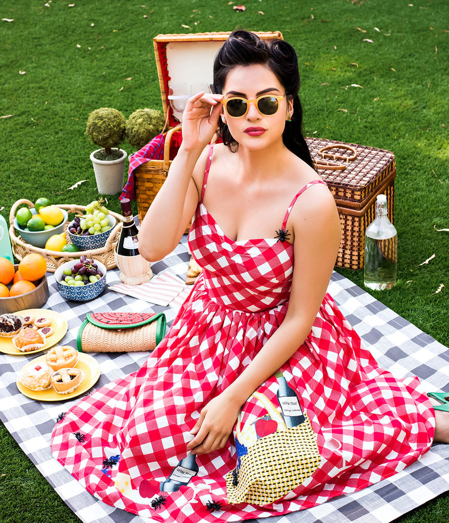 Unique Vintage 1950s Style Red & White Checkered Picnic Blanket Darcy Swing Dress
