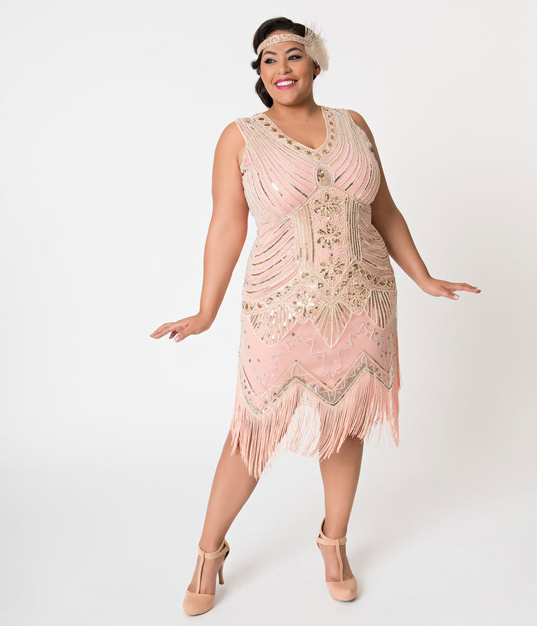 Unique Vintage Plus Size 1920s Deco Peach & Gold Veronique Fringe Flapper Dress