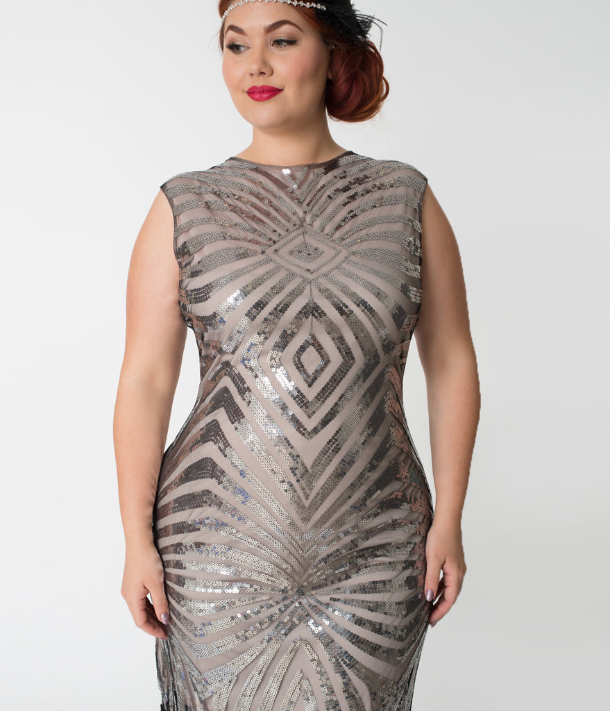 Unique Vintage Plus Size Silver Sequin & Black Fringe Sandrine Flapper Dress