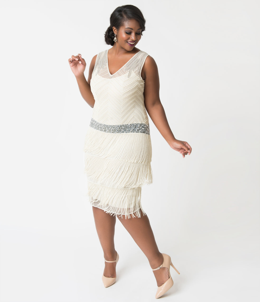 Vintage Inspired Wedding Dress | Vintage Style Wedding Dresses Unique Vintage Plus Size 1920S Ivory Beaded Fringe Rosedale Cocktail Dress $268.00 AT vintagedancer.com