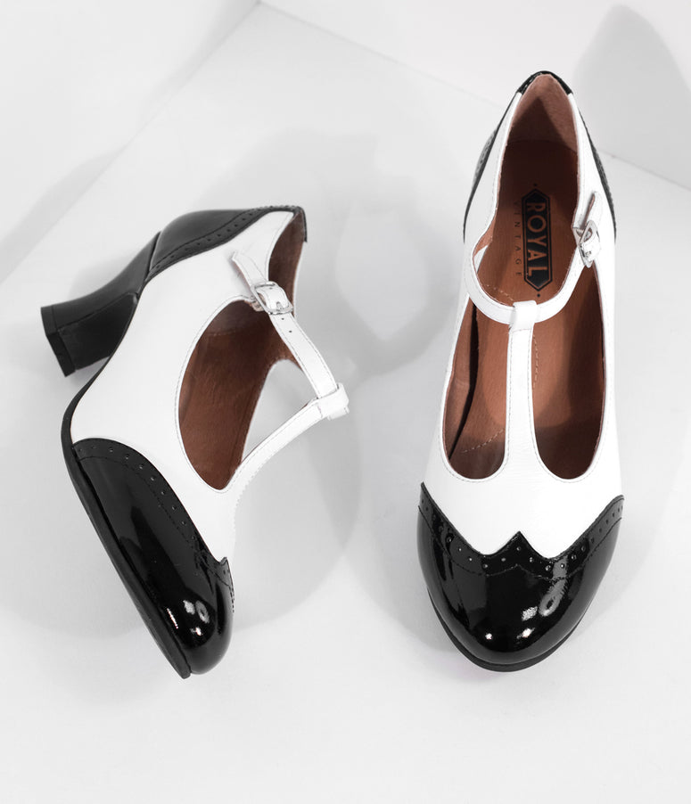 Royal Vintage 1920s Black & White Two-Tone Leather T-Strap Heels