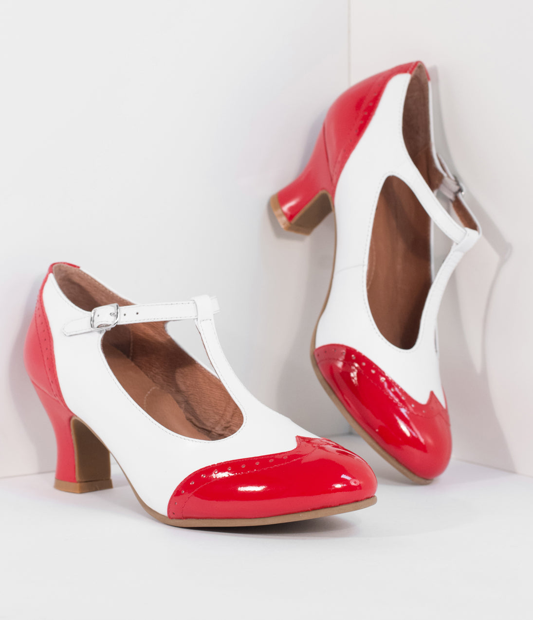 1920s Style Shoes Royal Vintage 1920S Red  White Two-Tone Leather T-Strap Heels $160.00 AT vintagedancer.com