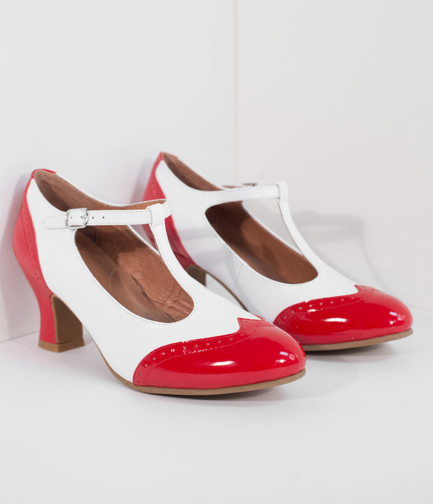 Royal Vintage 1920s Red & White Two-Tone Leather T-Strap Heels