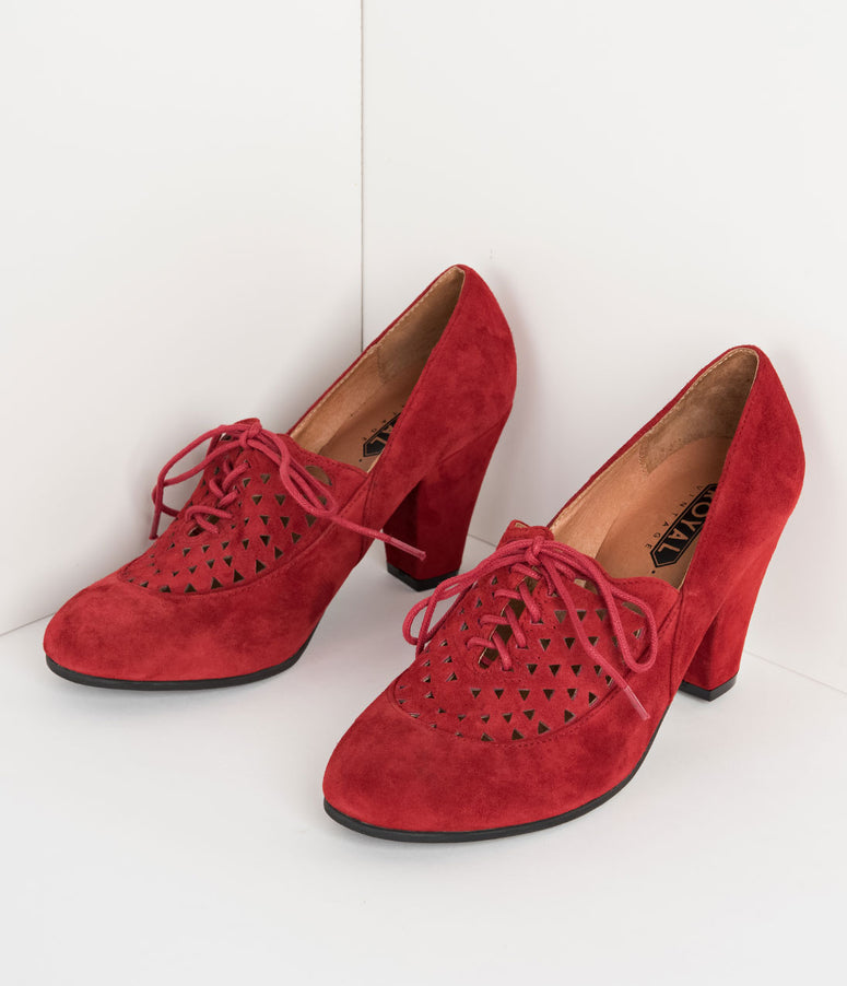 Royal Vintage 1940s Style Red Suede Leather Cutout Alice Oxford Heels
