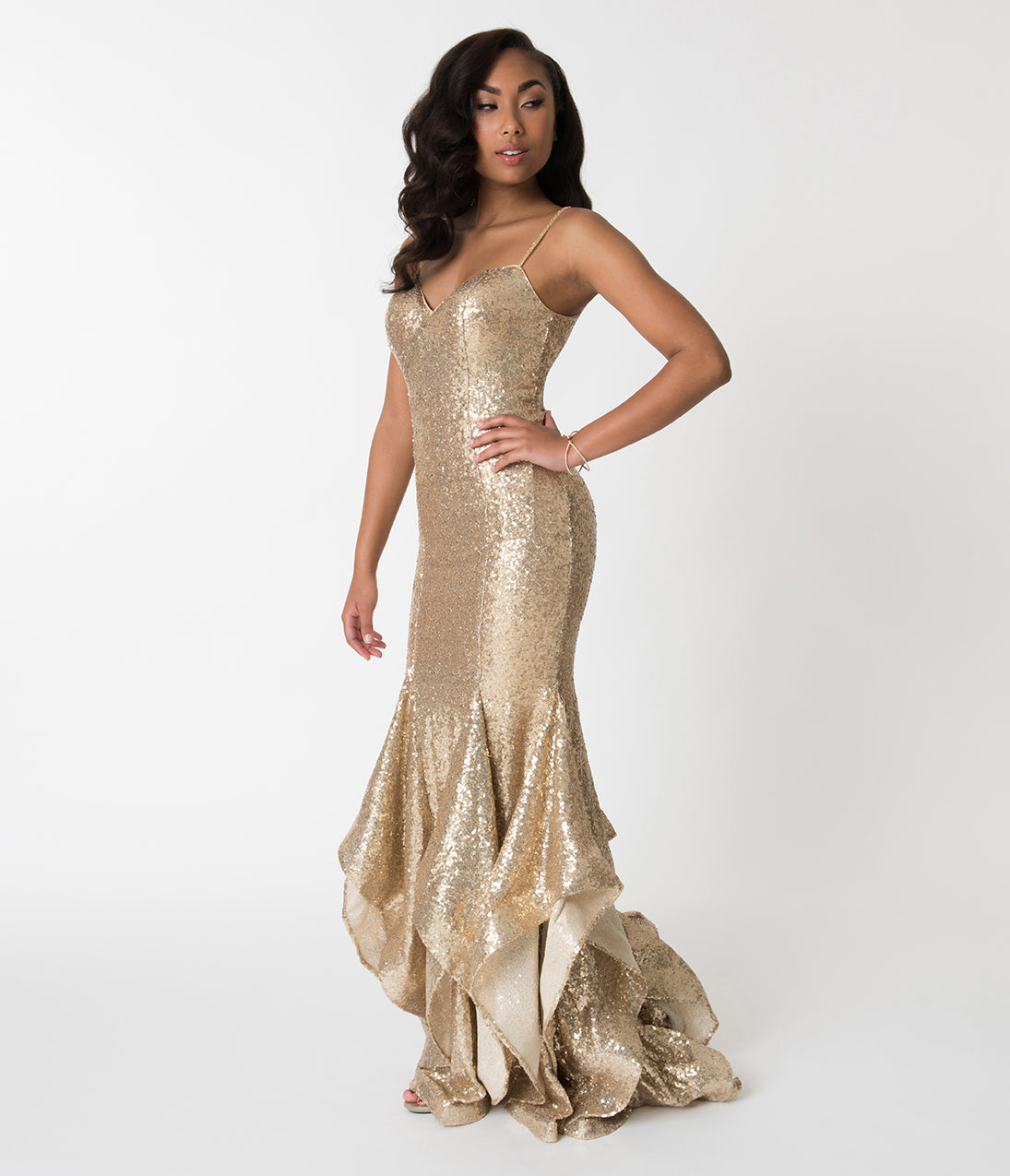 1950s Prom Dresses & Party Dresses Gold Sequin Embellished Spaghetti Strap Ruffled Mermaid Cut Gown $358.00 AT vintagedancer.com
