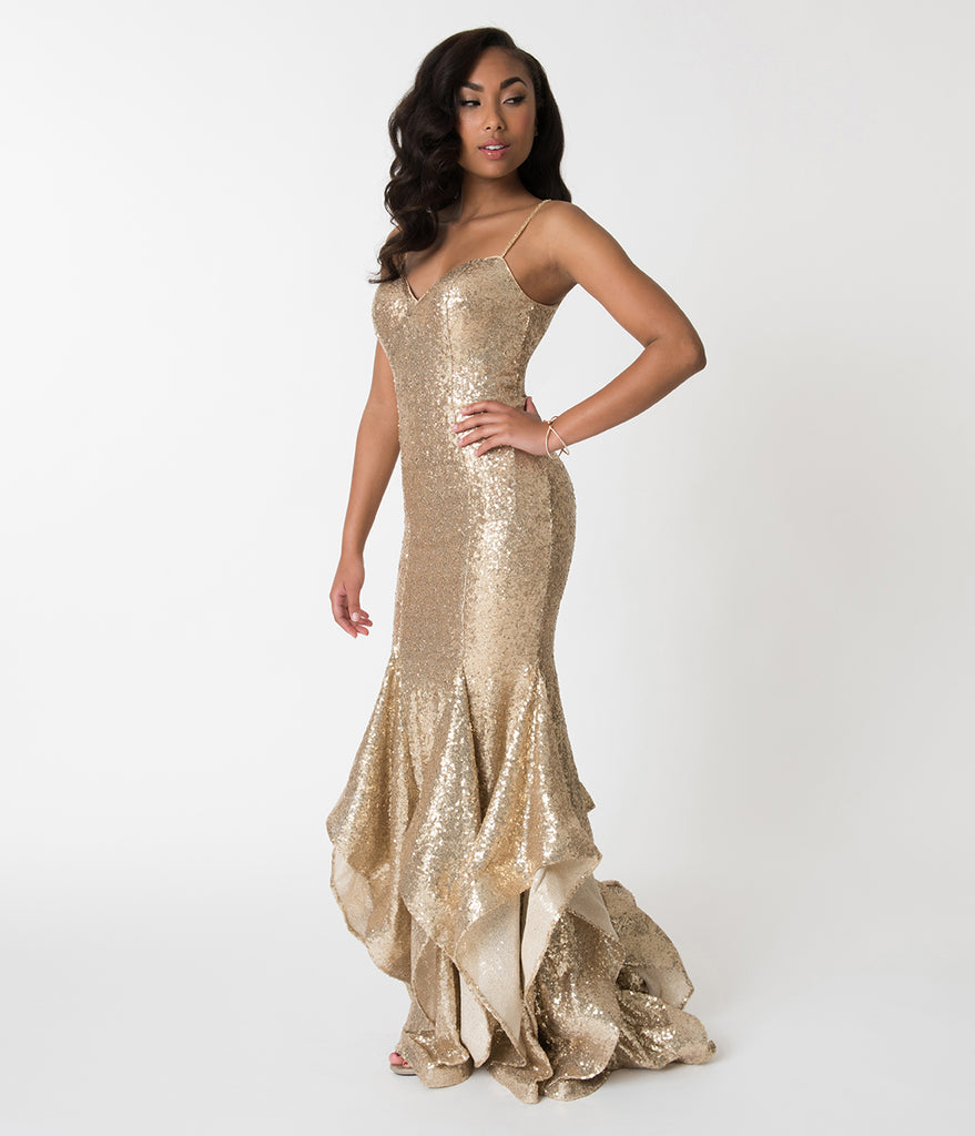Gold Sequin Embellished Spaghetti Strap Ruffled Mermaid Cut Gown ...