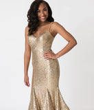 Gold Sequin Embellished Spaghetti Strap Ruffled Mermaid Cut Gown