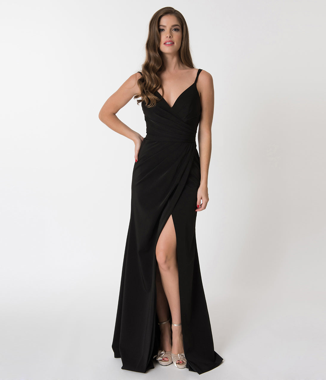 1950s Prom Dresses & Party Dresses Black Sexy Pleated Long Dress $118.00 AT vintagedancer.com