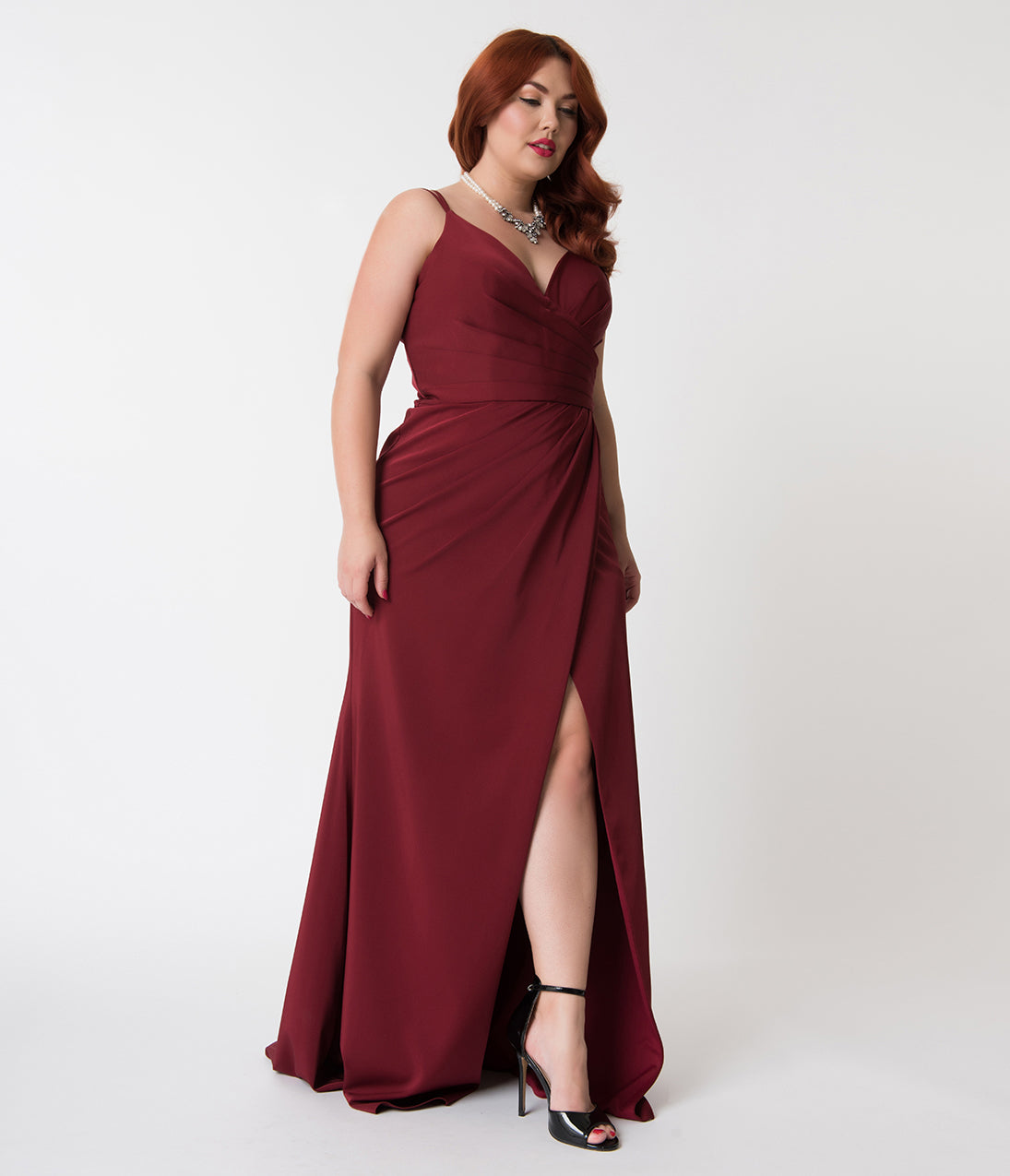 Vintage Evening Dresses and Formal Evening Gowns Plus Size Burgundy Red Sexy Pleated Long Dress $118.00 AT vintagedancer.com