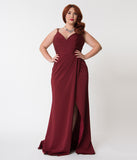 Plus Size Burgundy Red Sexy Pleated Long Dress